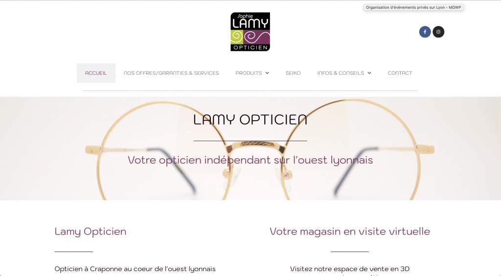 Capture d'écran du site de Lamy Opticien à Craponne