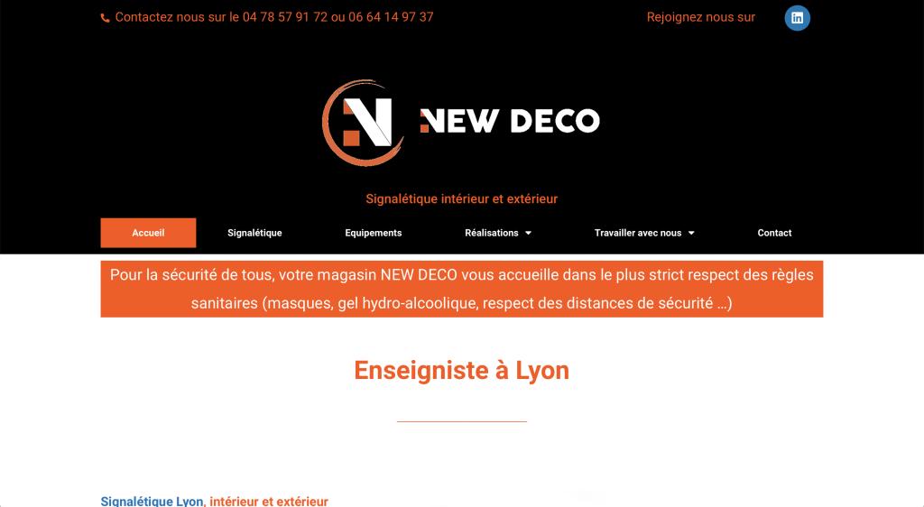 Capture du site internet de New Déco à Craponne